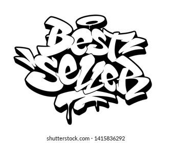 Bestseller sign, emblem, label, badge,sticker. Hand drawn graffiti image. Vector illustration