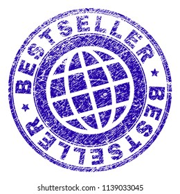 BESTSELLER stamp imprint with grunge texture. Blue vector rubber seal imprint of BESTSELLER caption with grunge texture. Seal has words placed by circle and planet symbol.