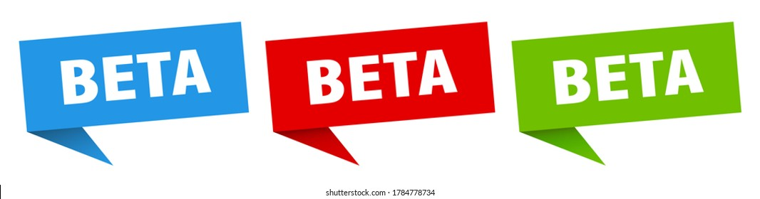 beta banner. beta speech bubble label set