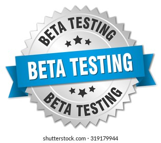 beta testing 3d silver badge with blue ribbon