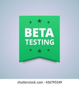Beta testing badge. Vector illustration in flat style.