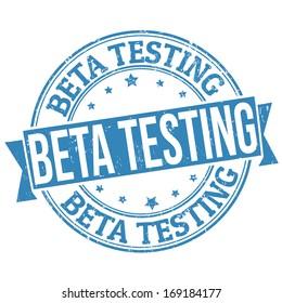 Beta testing blue grunge rubber stamp on white, vector illustration