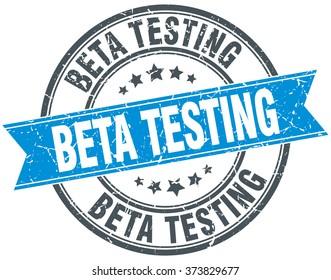beta testing blue round grunge vintage ribbon stamp