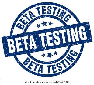 beta testing blue round grunge stamp