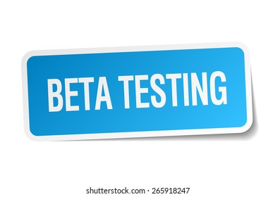 beta testing blue square sticker isolated on white