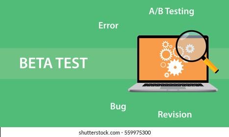 Beta testing concept for programming illustration