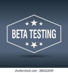 beta testing hexagonal white vintage retro style label