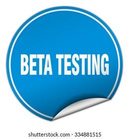 beta testing round blue sticker isolated on white