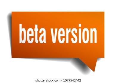 beta version orange 3d square isolated speech bubble