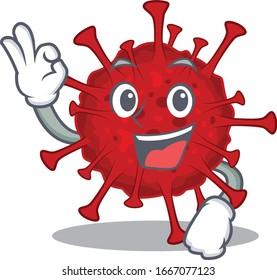 betacoronavirus cartoon character design style making an Okay gesture