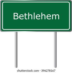 Bethlehem , Connecticut , road sign green vector illustration, road table, USA city