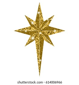 Bethlehem golden star isolated on white background. Christmas Star symbol vector illustration. Many Christians see star as miraculous sign to mark birth of Christ