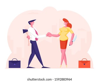 Betrayal Concept. Businessman and Businesswoman Shaking Hands and Smiling to Each Other while Hiding Ax and Knife Behind of Back. Meanness Falsehood Trickery People. Cartoon Flat Vector Illustration