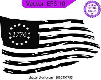 Betsy Ross 1776 13 Stars Distressed US Flag  13 star flag , 1776 flag.
