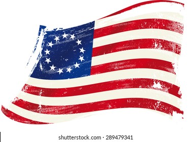 Betsy Ross flag grunge. A grunge Betsy Ross flag in the wind for you.