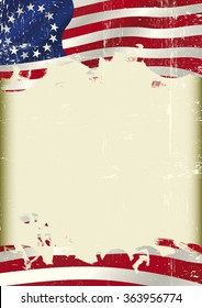 Betsy Ross Flag. An old Union flag with a grunge texture and a large frame for your message