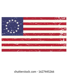 The Betsy Ross flag. Vector distressed grunge isolated illustration of the early design of the flag of the United States made by Betsy Ross.
