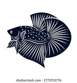 Betta Black Silhouette Vector Flat For Logo