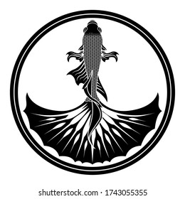 Betta fish emblem gray scale color for the community logo.