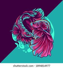 betta fish esport mascot logo illustration for your merchandise or business