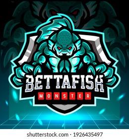 Betta fish monster mascot. esport logo design.