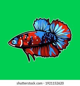 betta fish plakat beautiful illustration logo icon or tshirt design