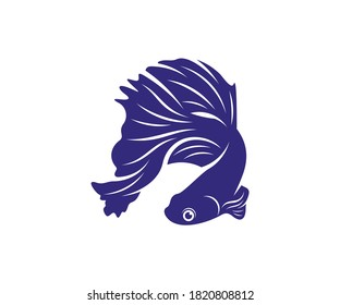 Betta fish vector illustration, fighting fish logo design template