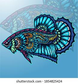 Betta fish zentangle arts. mascot logo design.