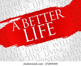 A Better Life word cloud, health concept