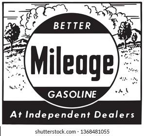 Better Mileage Gasoline - Retro Ad Art Banner