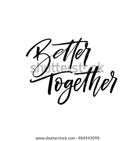 better together postcard hand drawn positive stock vector royalty