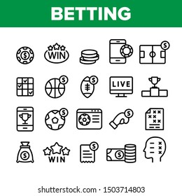 Betting Football Game Collection Vector Icons Set Thin Line. Casino Chip And Coin, Smartphone and Tv Monitor, Basketball And Box Betting Concept Linear Pictograms. Monochrome Contour Illustrations