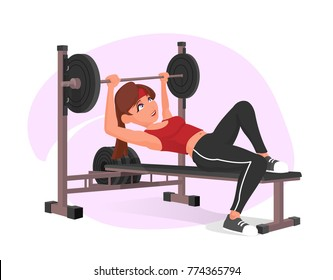 Beutiful cute young girl athlete are exercising in gym with barbell row. Vector flat design illustration full completed for animation.