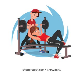 Beutiful cute young girl athlete are exercising in gym with barbell row and instructor. Vector flat design illustration full completed for animation.