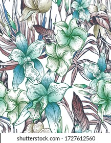 Beutiful hand drawn Beautiful pattern floral tropical seamless pattern and Stylish print for textile design and decoration.