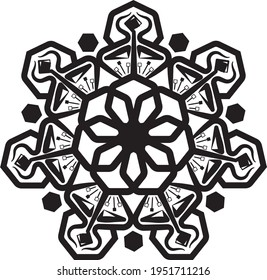 Beutiful Heptagon Flower. Artistic Circular Mandala Pattern Design. Beutiful Heptagon Flower