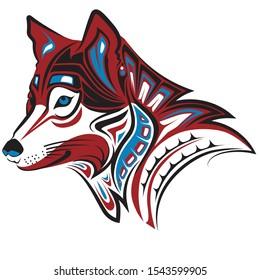 beutiful wolf tribal logo color