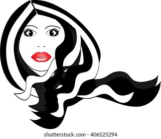 Beutiful woman with red lips