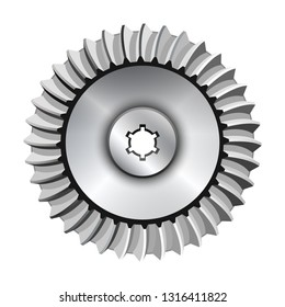 Bevel gear on a white background. Vector illustration.