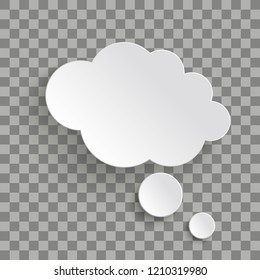 Bevel thought bubble on the checked background. Eps 10 vector file.