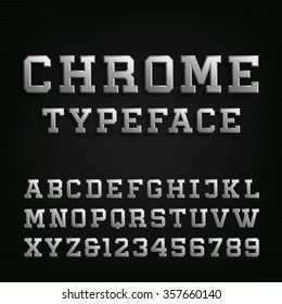 Beveled Chrome Alphabet Font. 3D metal effect letters and numbers on the dark background. Vector typeset for headlines, posters etc.