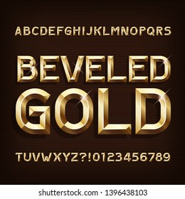 Beveled Gold alphabet font. 3d gold letters and numbers. Stock vector typeface for your typography design.