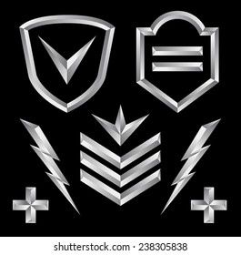 Beveled shield crest emblem element set 3