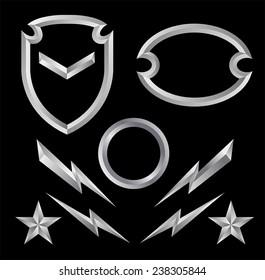 Beveled shield crest emblem element set 1