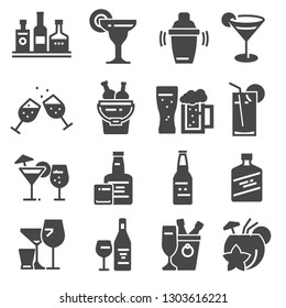 Beverage, bold alcohol icons set Vector