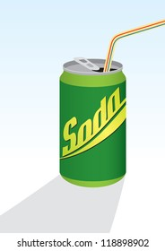Beverage can with straw; green - vector