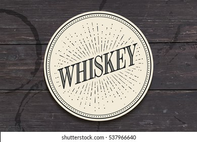 Beverage coaster for glass with inscription Whiskey, light rays and sunburst. Vintage drawing for bar, pub, whiskey themes. Vector Illustration