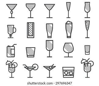 Beverage, cocktail, drinks vector thin line symbol icon. Beer, wine, cognac emblems. Alcohol cocktails. Party outline elements isolated on white background. Unique hatching design. Vector illustration