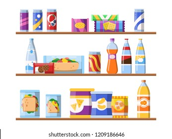 Beverage food on shelves. Fast food snacks biscuits and water standing on showcase vector merchandising concept flat illustrations. Food shelf, shop store supermarket