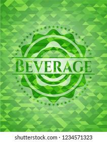 Beverage green emblem. Mosaic background
